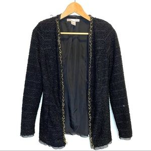 4/$20 FOREVER 21 Black Couture Jacket Gold Chain